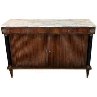 Neoclassic Marble-Top Tambour Cabinet in the Style of Maison Jansen For Sale