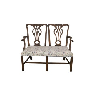 Kittinger Chippendale Style Mahogany Double Back Settee A For Sale