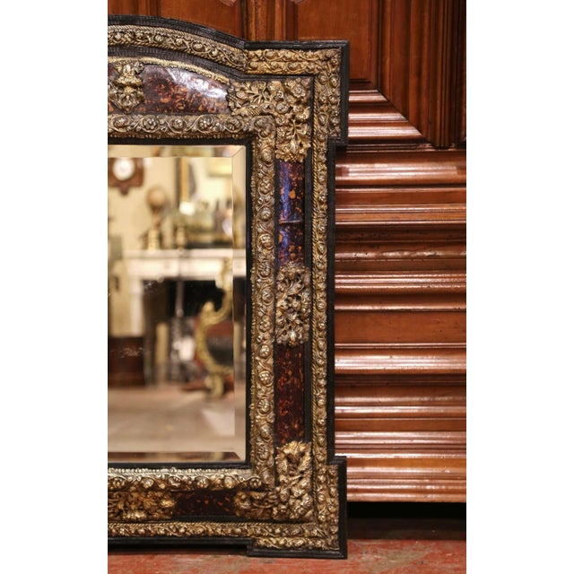 Brass 19th Century French Napoleon III Repousse Brass and Ebony Overlay Wall Mirror For Sale - Image 8 of 11