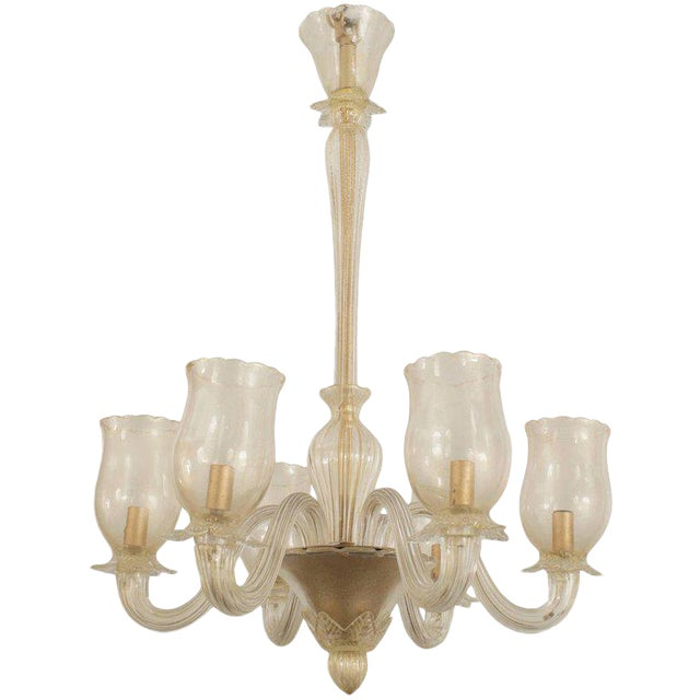 1940s Italian Murano Gold Dusted Chandelier by Barovier Et Toso For Sale