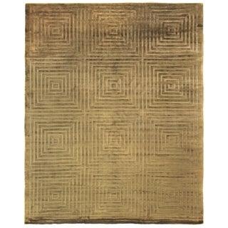 Derby Hand loom Viscose Khaki Rug-8'x10' For Sale