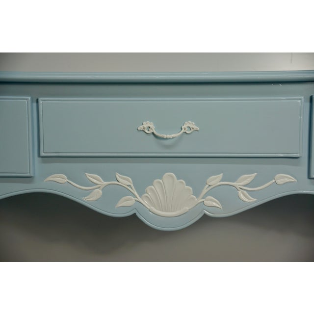 Wood Mid 20th Century French Carved Blue & White Lacquered Console Table For Sale - Image 7 of 9