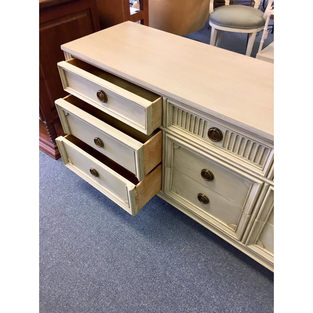 Gray Lowboy Dresser With Circular Brass Pulls For Sale In West Palm - Image 6 of 10