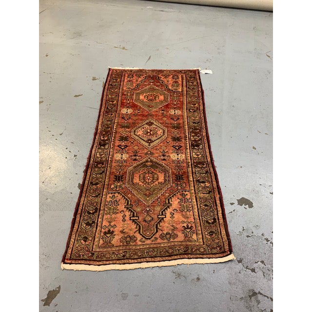 Vintage Hamadan Orange Wool Rug For Sale - Image 4 of 4