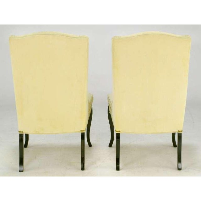 Pair 1940s Creamy Velvet Button-Tufted Slipper Chairs For Sale In Chicago - Image 6 of 10