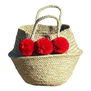 Balinese Red Pom Pom Basket