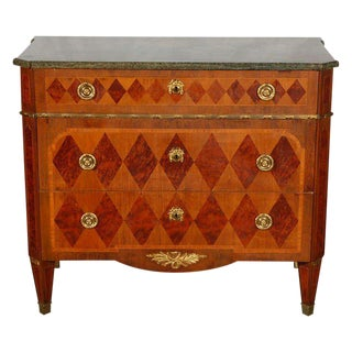 Swedish Marble Top Marquetry Commode For Sale