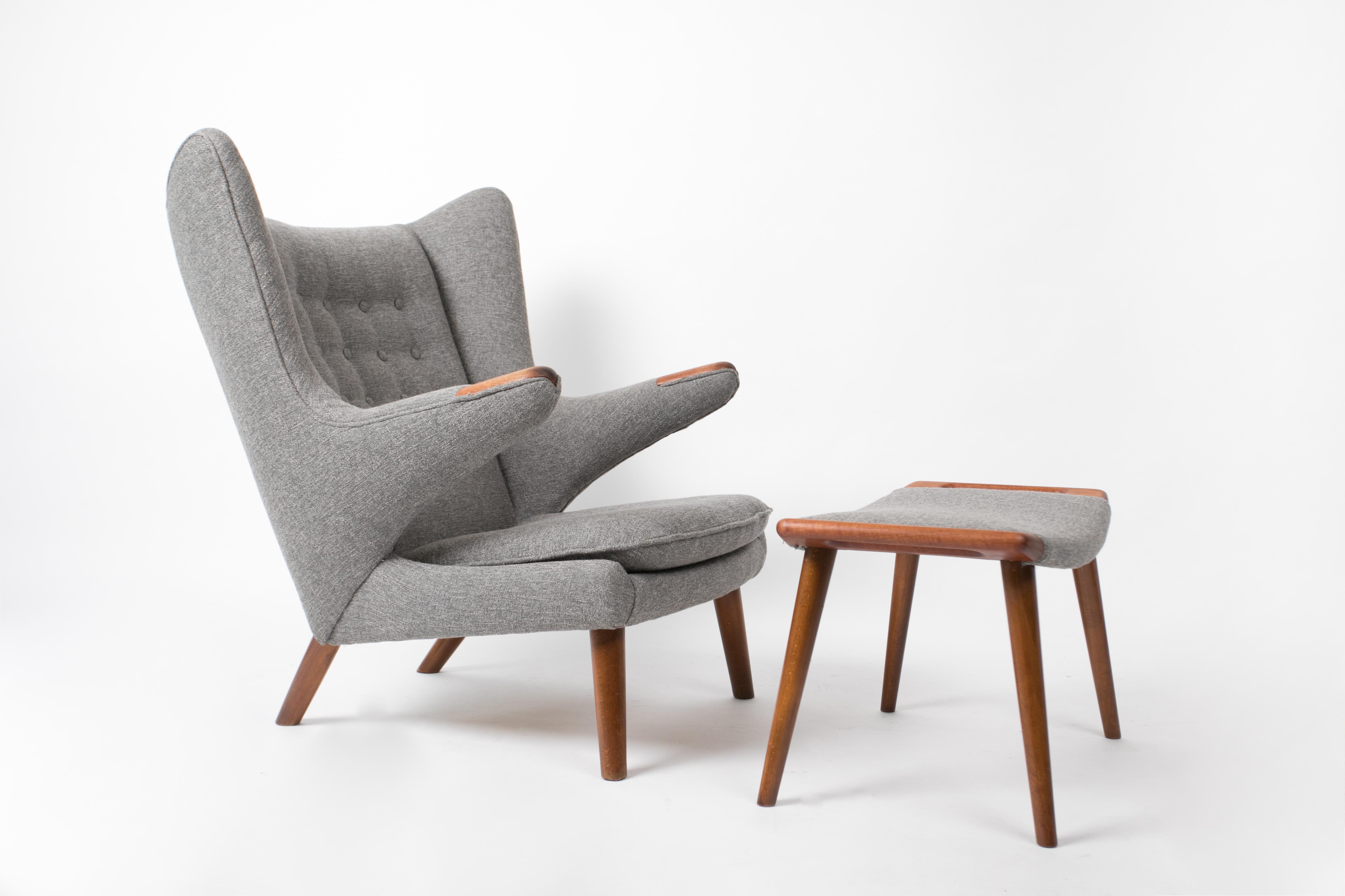 Hans Wegner Papa Bear Chair And Ottoman   Image 11 Of 11