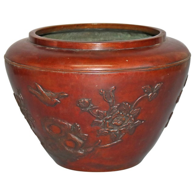 Antique Japanese Embossed Bronze Jardinière with Garden Scene, circa 1920 For Sale - Image 11 of 11