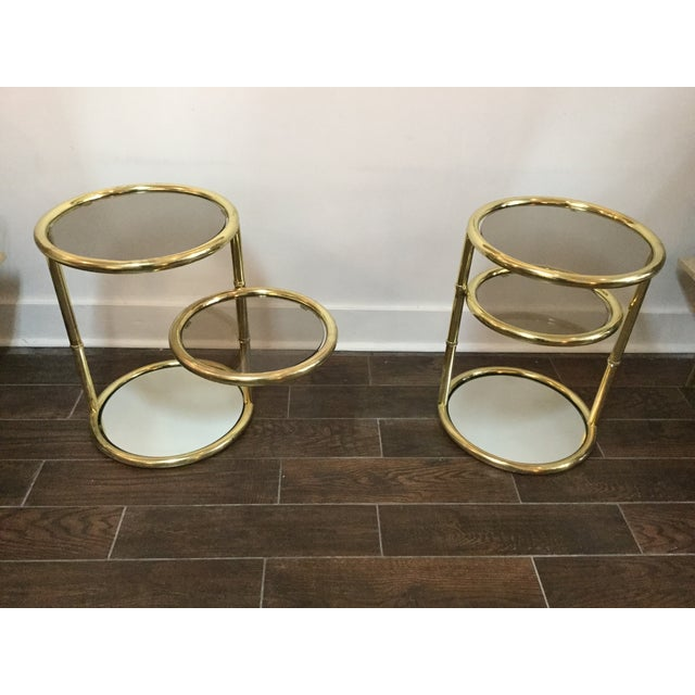 1970's Swivel Brass Side Tables - Image 5 of 11