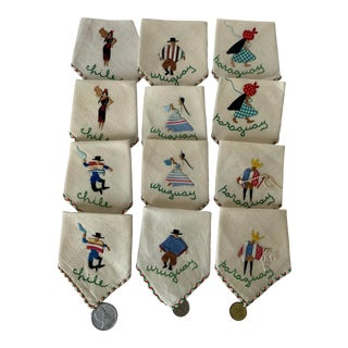 Set of 12 South American Embroidered Cocktail Napkins For Sale