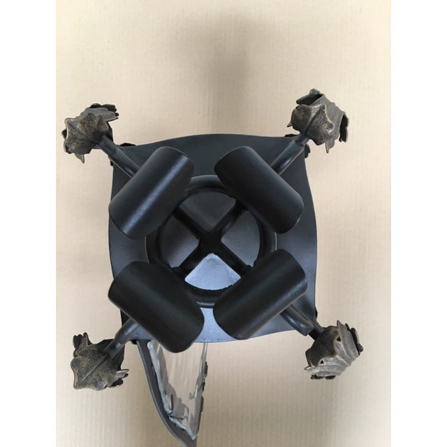Metal Hand Forged Wrought Iron Post Mount For Sale - Image 7 of 8