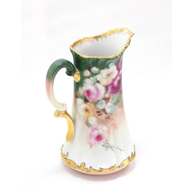T&V France Floral Vase Shape Flower Painted Porcelain Pitcher For Sale - Image 4 of 8