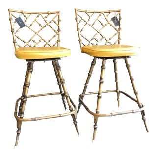1900s Hollywood Regency Gold Faux Bamboo Metal Bar Stools - a Pair For Sale