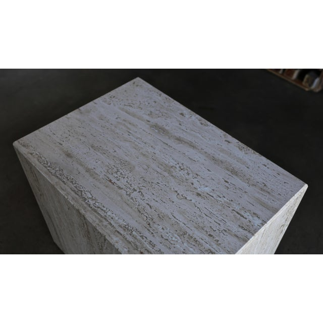 1975 Mid-Century Modern Travertine Pedestal or Side Table For Sale In Los Angeles - Image 6 of 13