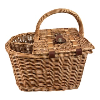Vintage Wicker Wine & Cheese Basket- Lined For Sale