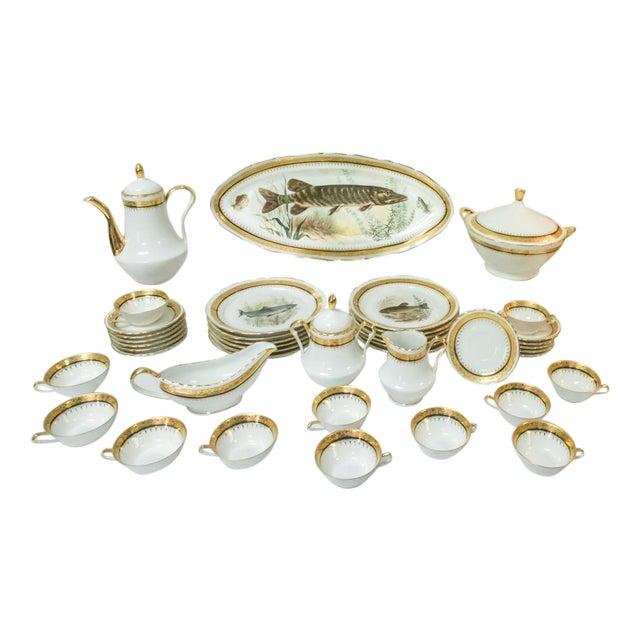 Vintage French Porcelain Dinner Set - Set of 42 For Sale