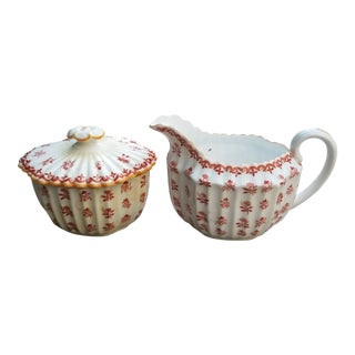1910s Vintage Spode Scrolls and Flowers Ribbed China Creamer and Sugar Set For Sale