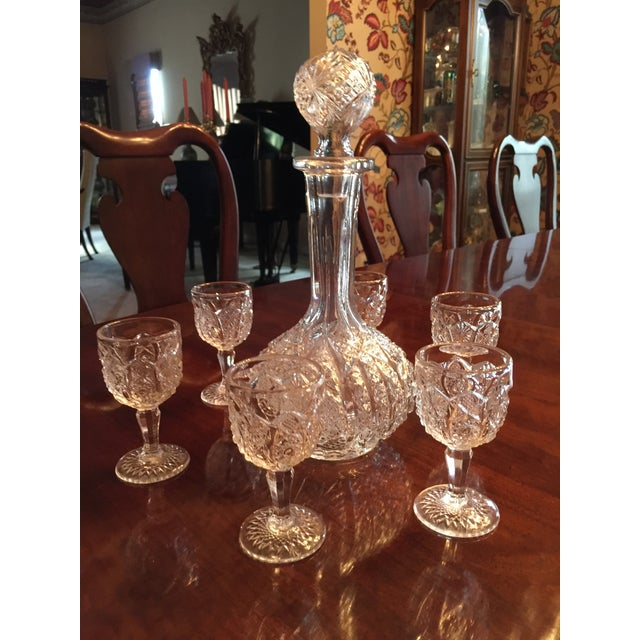 Art Glass Vintage Pressed Glass Decanter With Goblets Wine Set For Sale - Image 7 of 12