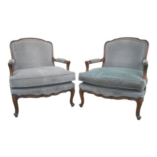 French Louis XV Lounge Bergere Chairs - a Pair