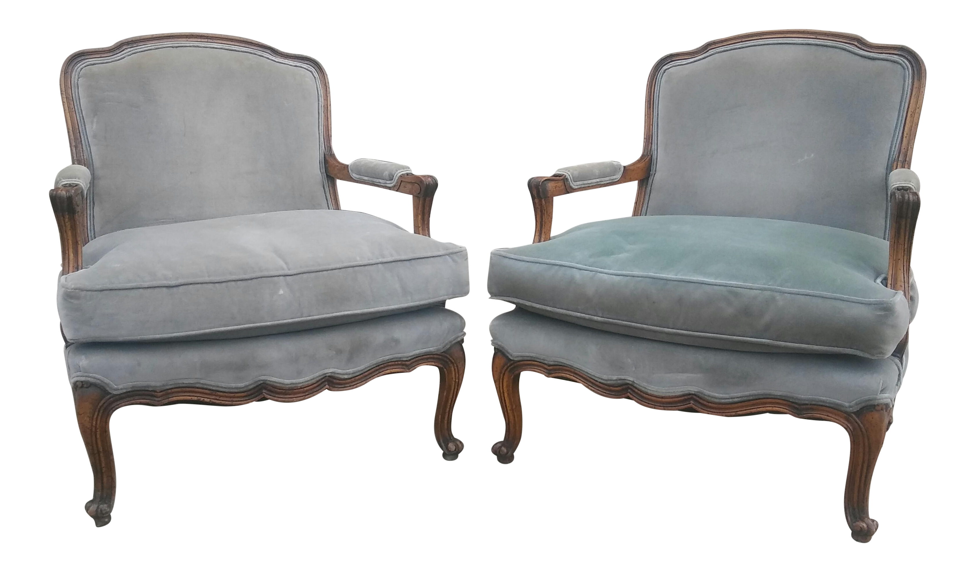 French Louis XV Lounge Bergere Chairs   A Pair