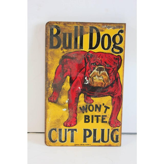 "Early 20th C. Vintage ""Bull Dog Cut Plug"" Tobacco Double-Sided Tin Sign For Sale - Image 4 of 5"