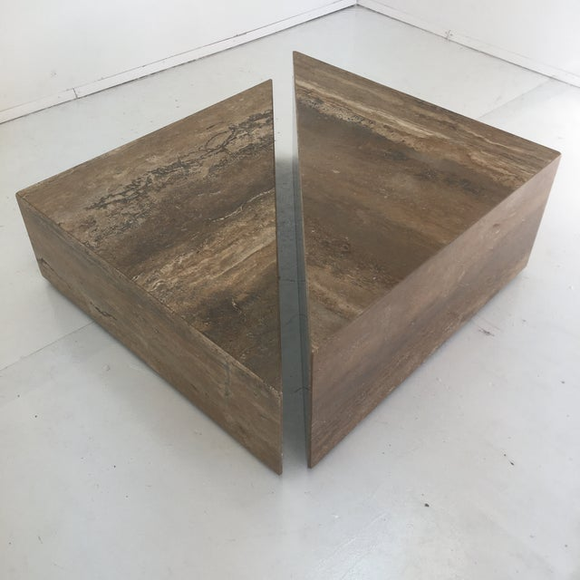 Italian Two Triangular Offset Stone Coffee Table - 2 Pieces For Sale - Image 4 of 13