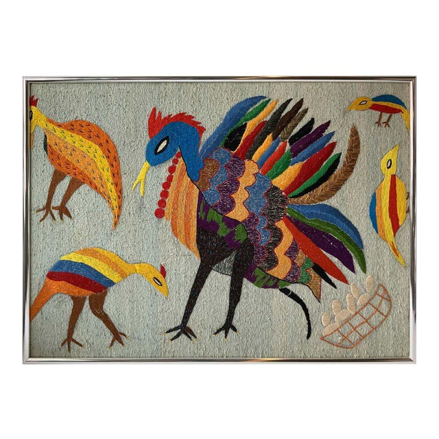 Large Embroidered Turkey Wall Hanging For Sale