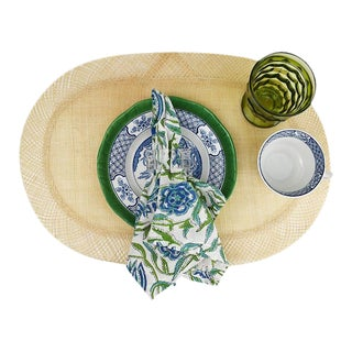 Blue Green 7 Piece Table Setting W/ Plates Glasses Cloth Napkins Set for 12 Italy - 84 Pieces For Sale