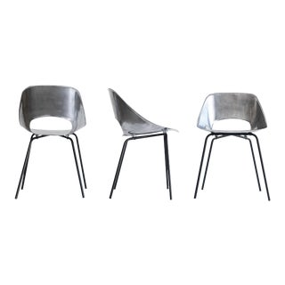 "Pierre Guariche, Set of Three ""Tonneau"" Cast Aluminum Chairs, C. 1950 - 1959 For Sale"