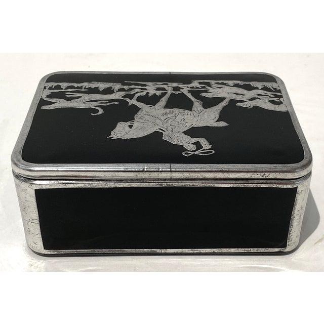 Art Deco English Sterling Silver Black Glass Box Fox Hunt For Sale - Image 4 of 13