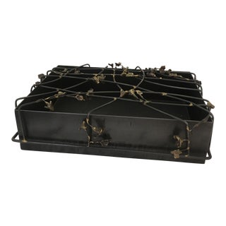 Abstract Modern Metal Flower Adorned Decorative Box For Sale