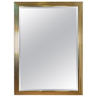 Brass Finish Beveled Wall Mirror For Sale