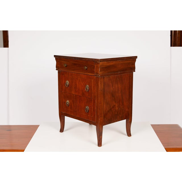 French Provincial Italian Neoclassical Walnut Commodini For Sale - Image 3 of 13