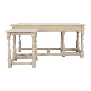 1960s Belgian Bleached Oak Nesting Tables For Sale