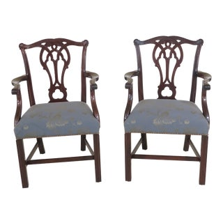 21st Century Stickley Colonial Williamsburg Mahogany Chippendale Arm Chairs- A Pair For Sale