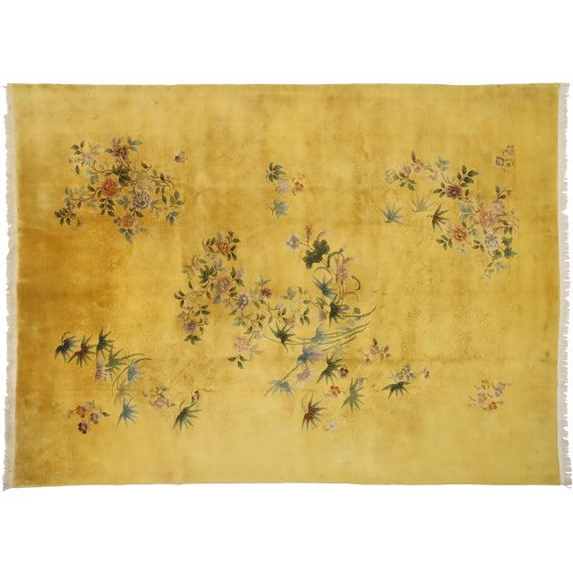 Citrine & Saffron Antique Chinese Art Deco Rug - 10'08 X 14'06 For Sale