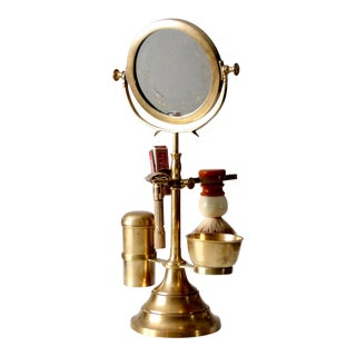 Vintage Brass Shaving Kit & Mirror Stand For Sale