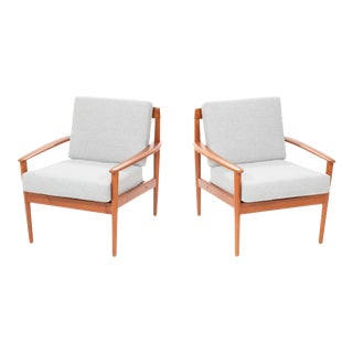 Vintage Mid Century Danish Teak Lounge Chairs by Grete Jalk - a Pair For Sale