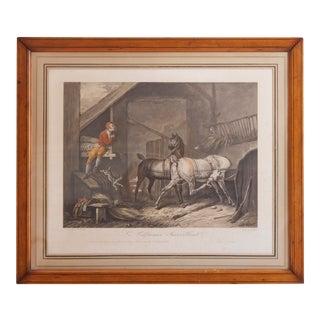"""Mid 19th Century Antique Jazet Carl Vernet Palfrenier Surveillant """"Horses Stable Paris"""" Print For Sale"""