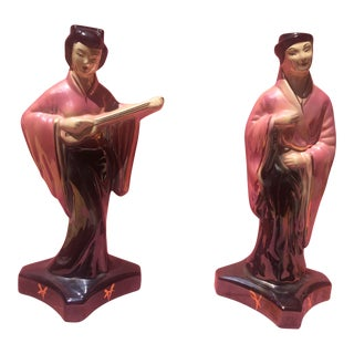 Mid Century Chinoiserie - Japanese Moriyama Lusterware Male & Female Porcelain Statue Figurines - a Pair For Sale