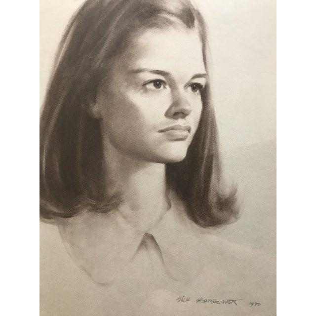 Vintage Portrait Drawing of Girl - Image 4 of 5