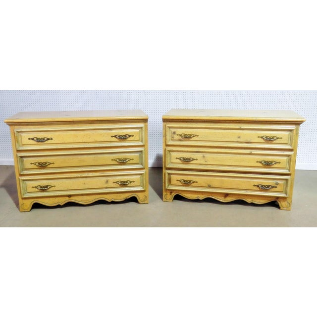 Wood French Country Pine Commodes - a Pair For Sale - Image 7 of 7