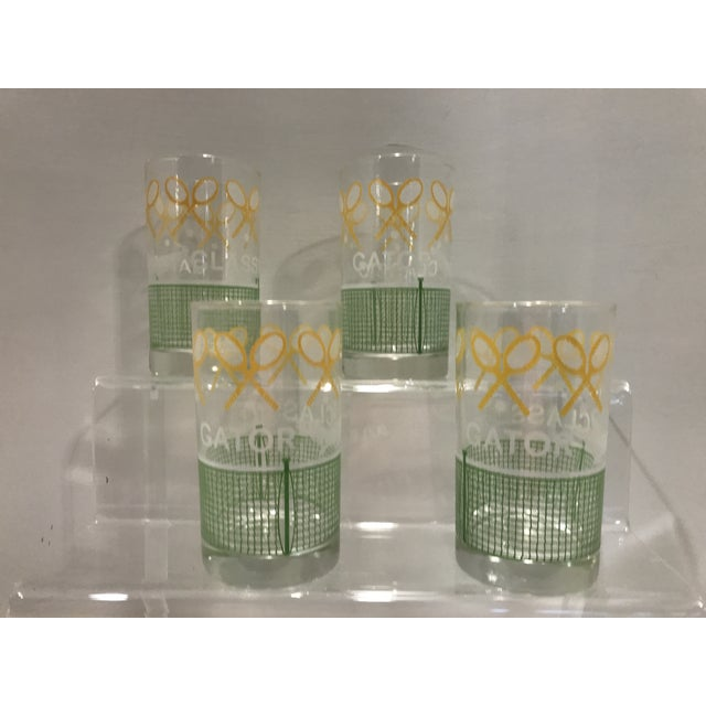 Vintage 1980's Green Yellow and White Alligator Tennis Cocktail Bar Tumbler Glasses - Set of 4 - Image 2 of 7