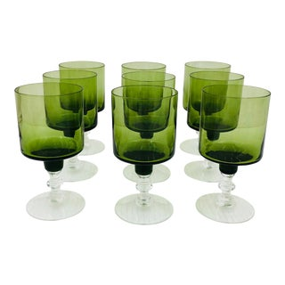Set Vintage Green Wine Glasses For Sale