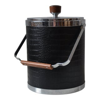 1960s Mid-Century Kromex Black & Chrome Ice Bucket For Sale