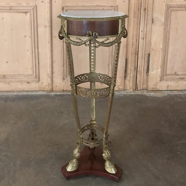19th Century French Louis XVI Marble Top Brass Pedestal For Sale - Image 11 of 12