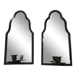 English Traditional Iron Mirrored Sconces - a Pair