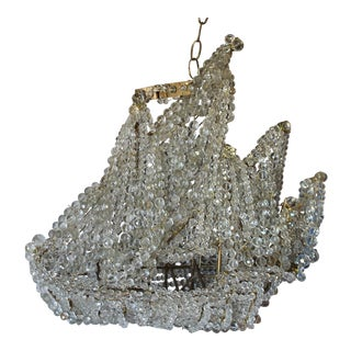 "C1920's Maison Bagues Paris ""Famous Crystal Beaded Nautical Ship Chandelier"" - Galleon For Sale"