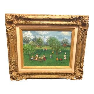 "1970s Folk Art Painting on Canvas, ""The Picnic,"" by Mollie Simon"